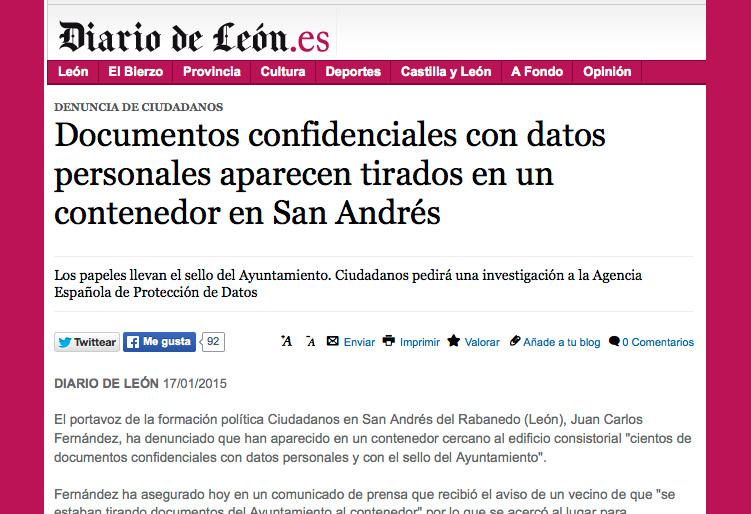 Documentos confidenciales con datos personales aparecen tirados en un contenedor en San Andrés